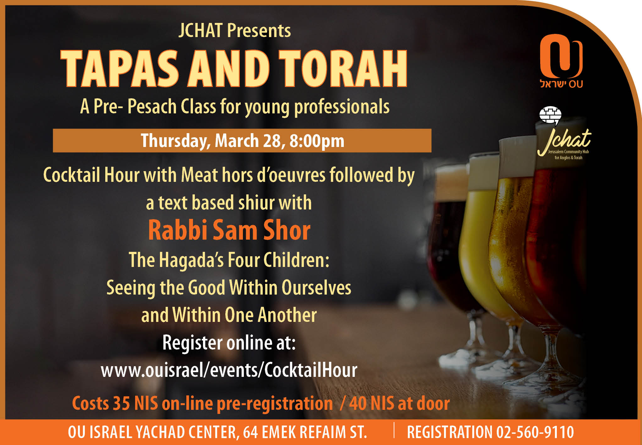 Tapas and Torah-A Pre Pesach Class for Young Professionals